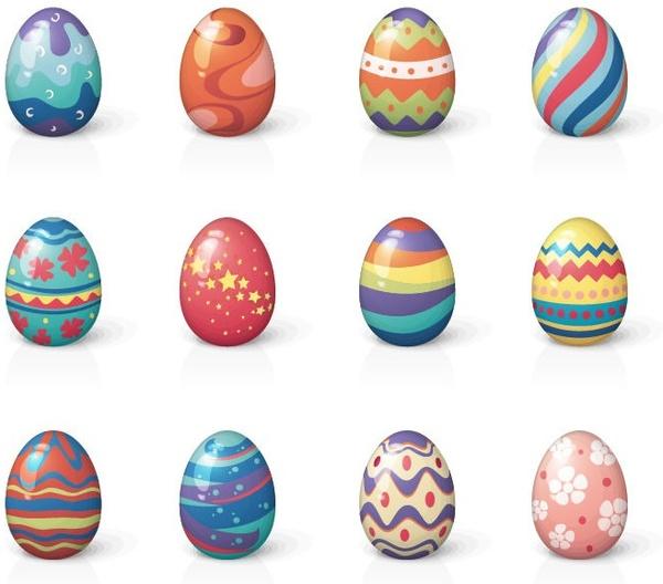 set of twelve easter eggs