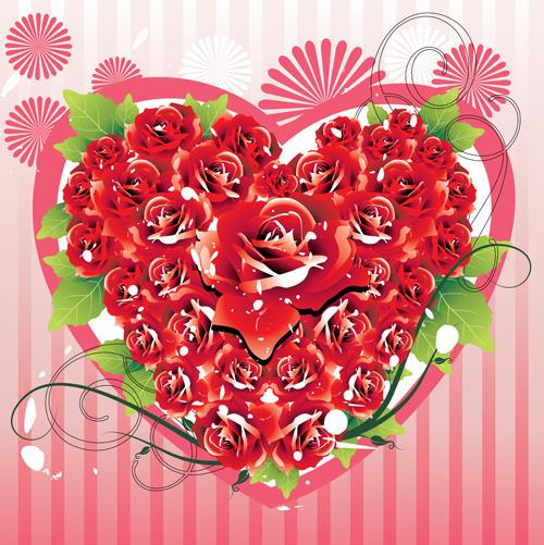 set of valentine day decor elements vector