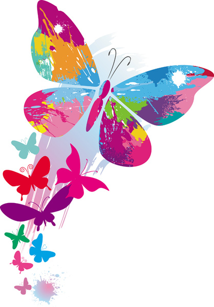 Set Of Vector Colorful Butterflies Background Free Vector In