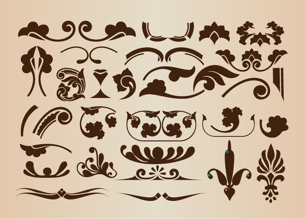 set of vector floral decorative elements for design