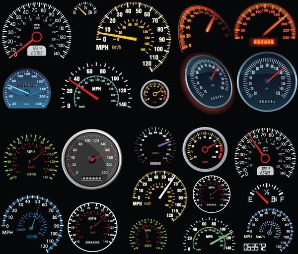 Set of Vector Speedometer and Counter Free vector in