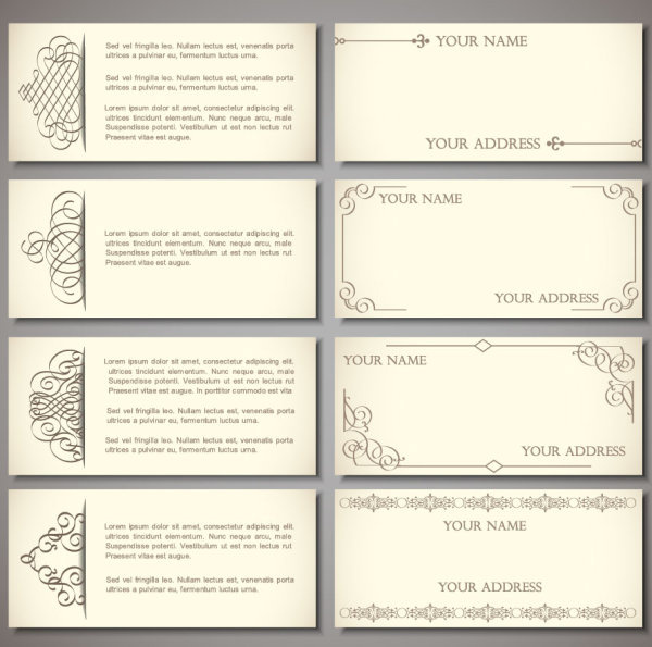 Set Of Vintage Business Card Design Vector Free Vector In