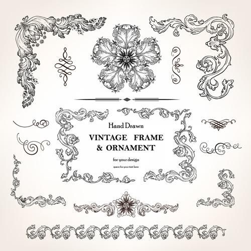 set of vintage design elements vector borders