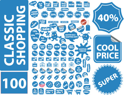 set of vivid price tags and stickers vector