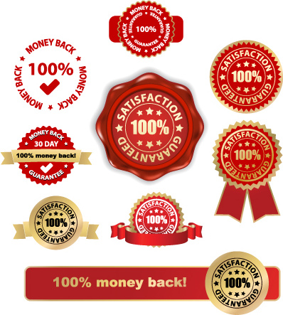 set of wax seal and award design elements vector