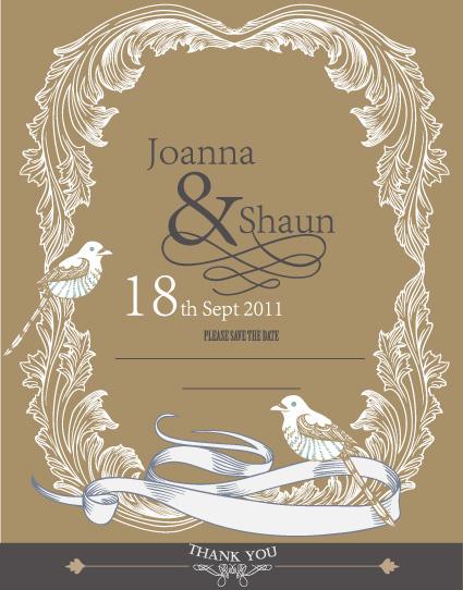 set of wedding card design elements vector