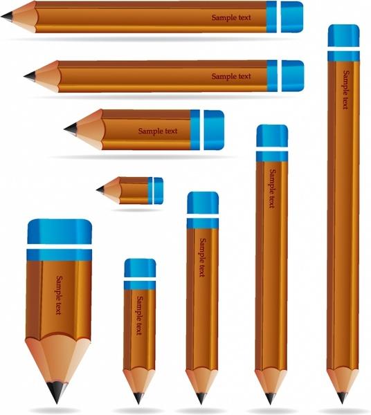 Set of wooden pencils