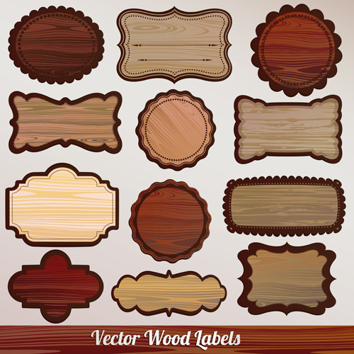 set of wooden plaques labels vector free vector in encapsulated