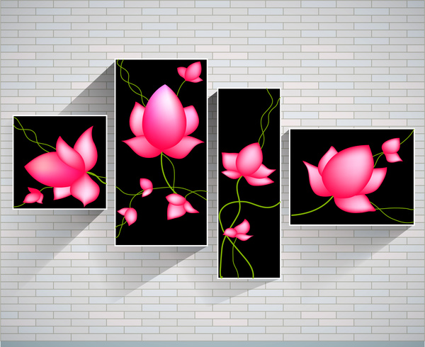 sets of pink lotus paintings on brickwall background