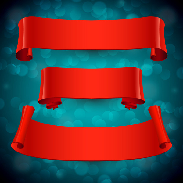 sets of red ribbons on bokeh background