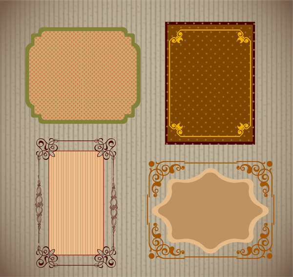 Sets Of Vintage Frames With Various Pattern Background Free Vector