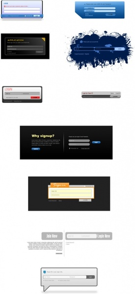 several login box psd layered