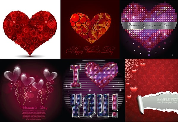 several romantic love pattern vector