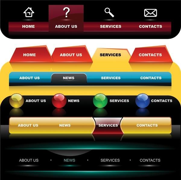 several special navigation menu vector