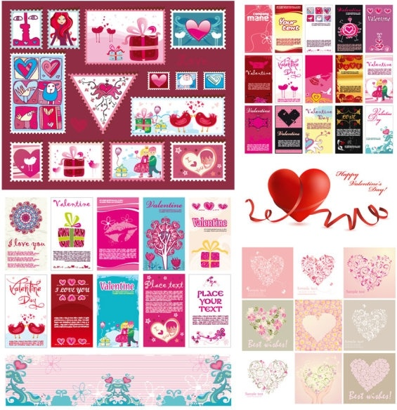 several very lovely valentine day vector