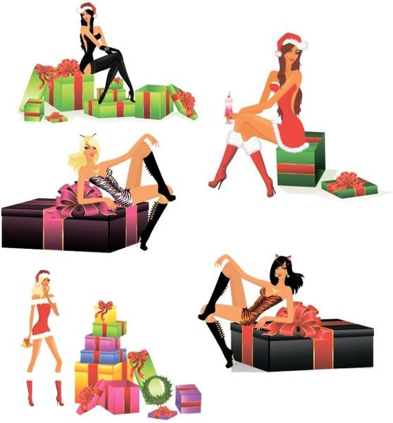 sexy christmas girls vector