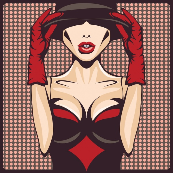 fashion background sexy girl icon cartoon character sketch