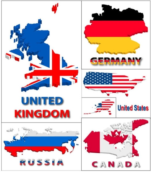 shape of the flag in several countries map