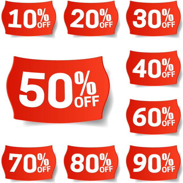 shaped red background discount labels sets collection