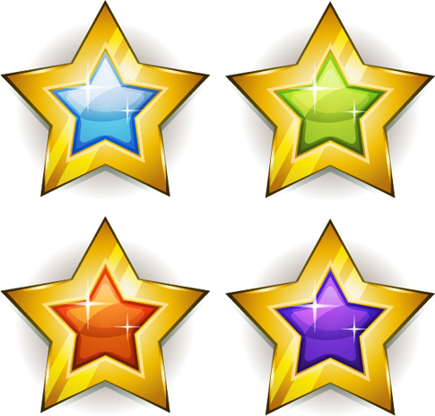 Shining Gold Stars Icons Vector Free Vector In Adobe Illustrator Ai