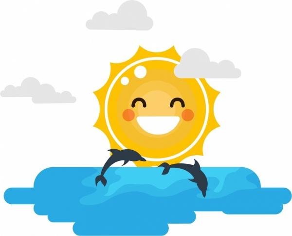 shining sun background stylized design sea dolphin decor