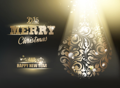 shiny15 christmas and new year with floral background