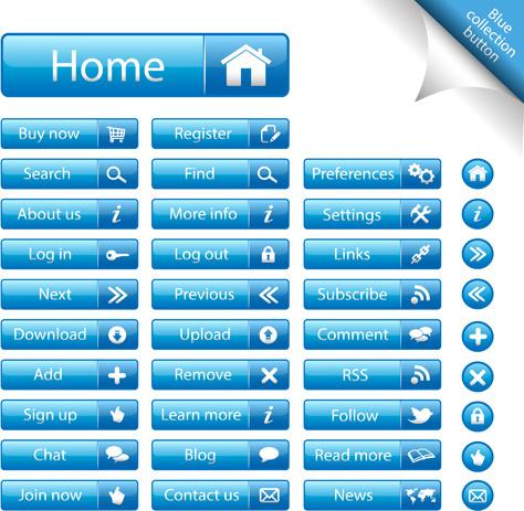 shiny blue web buttons vectors pack