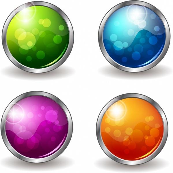 Shiny Buttons Set - Round