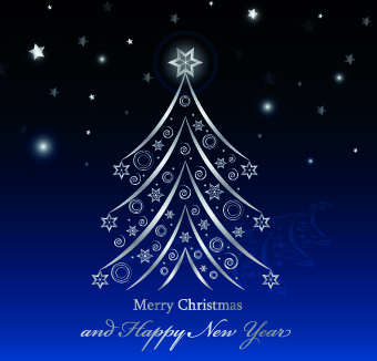 shiny christmas tree blue new year background