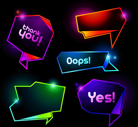 shiny colorful speech bubbles vector