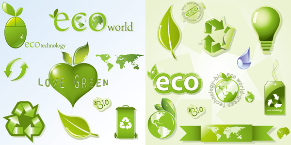 shiny eco icon vector