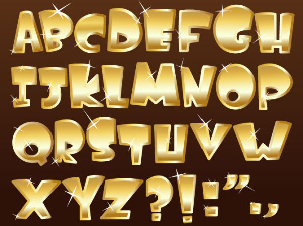 Shiny gold alphabet and numeral punctuation vector Free