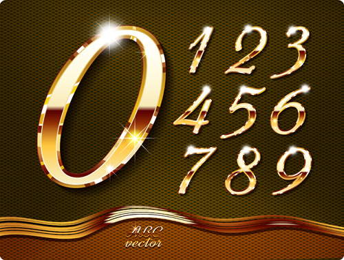 84f0db046e4b Shiny gold numerals vector graphics Free vector in Encapsulated ...