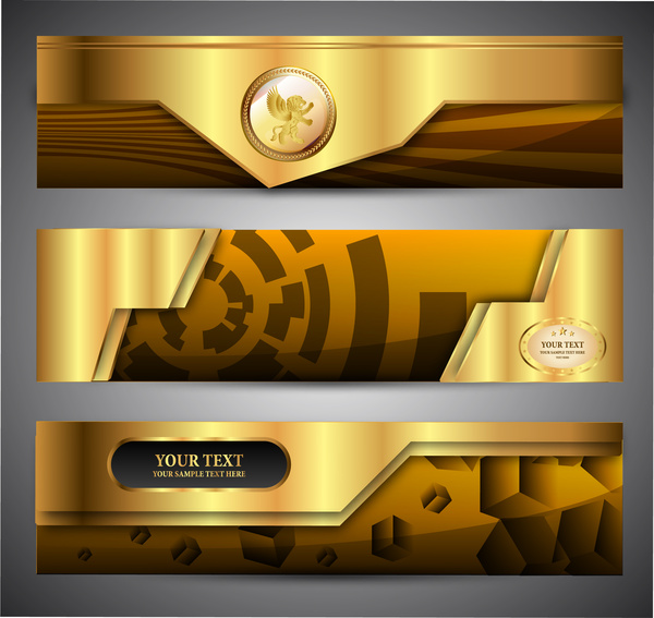 shiny golden 3d banners set with modern style