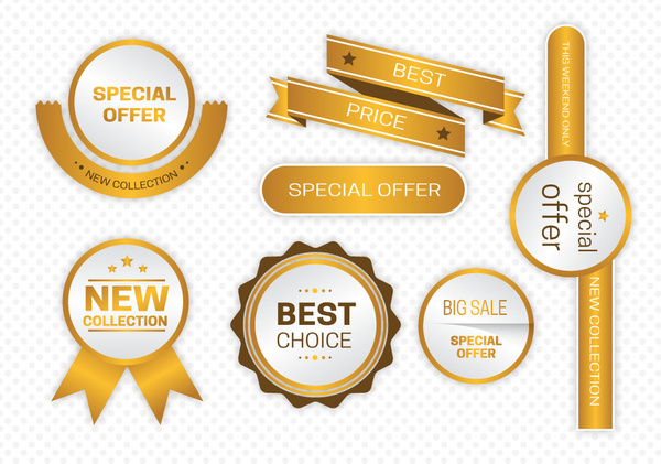 shiny golden marketing promotion icons