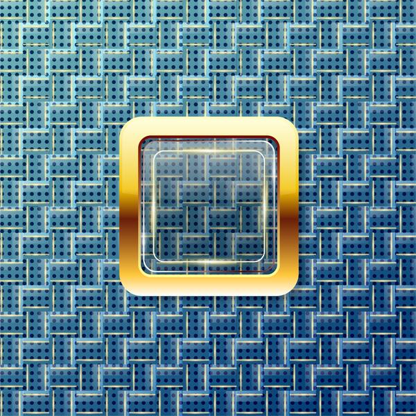 shiny golden square on op art background