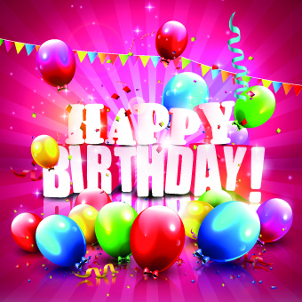 shiny happy birthday colored balloons with ribbon background