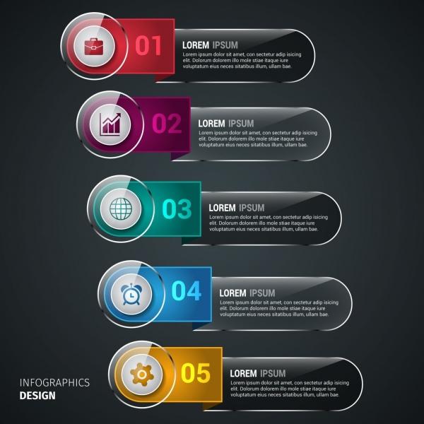 shiny infographics template rounded dark horizontal bars design