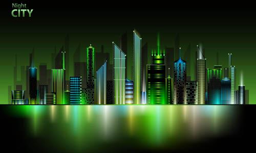 shiny night city landscape vector