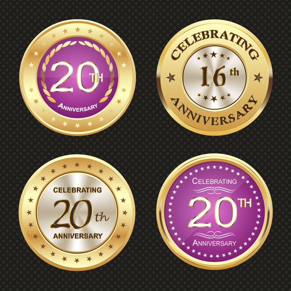 shiny round medal icons for anniversary celebration