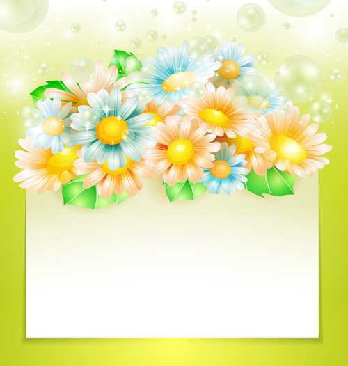 shiny spring flowers creative background vector