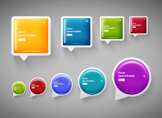 shiny textured speech bubbles colored vector