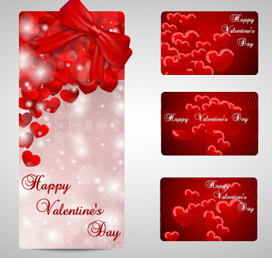 shiny valentines day gift cards set
