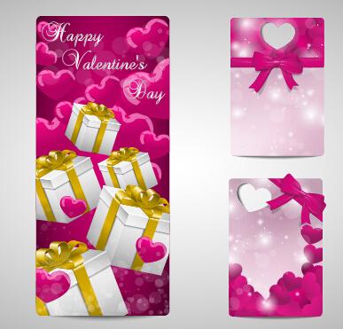 shiny valentines day gift cards set
