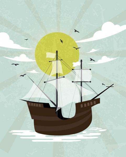 ship drawing retro design sun cloud sea icons