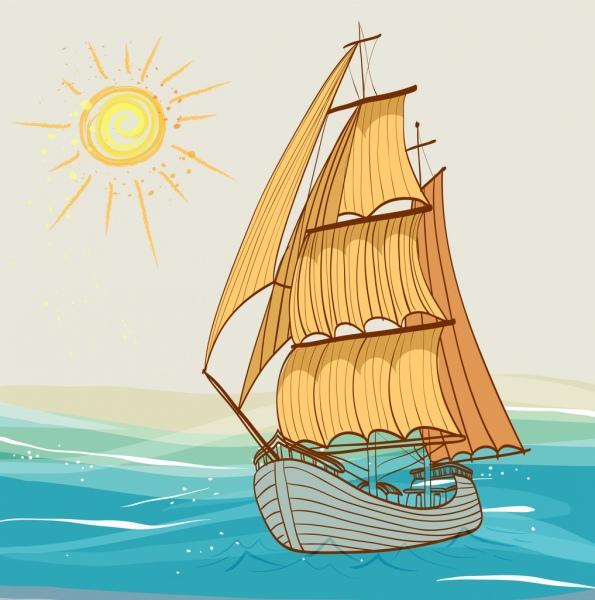 ship drawing sea sun icons multicolored handdrawn sketch