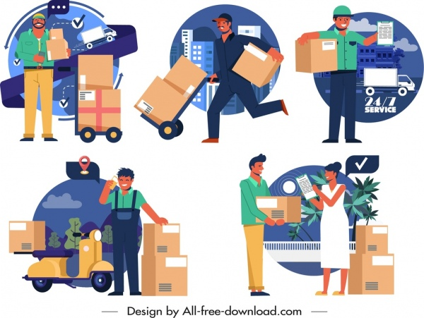 Shipper icons collection delivery activities sketch cartoon design