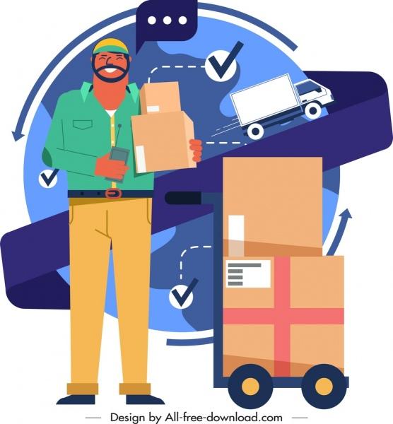 shipper job icon man goods truck sketch