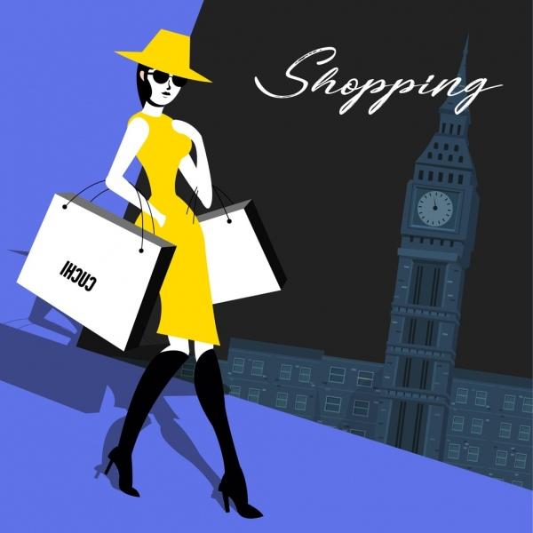 shopping background fashion woman bags landmark icons decor