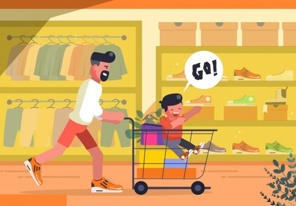 shopping background joyful dad son trolley icons